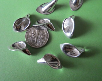 Sterling silver lilly flower cone - 2 pcs