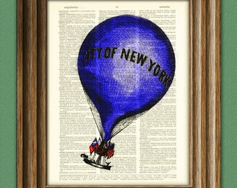 City of New York Hot Air Balloon voyage illustration dictionary page book altered art print