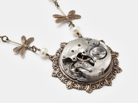 Steampunk Necklace silver antique pocket watch movement gears pearl gold dragonfly Neo Victorian Steampunk jewelry by Steampunk Nation 1452