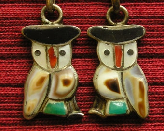 Southwest Sterling Silver Multi Stone Inlay Owl Dangle Earrings