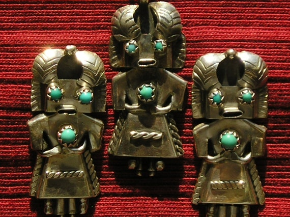 Zuni Sterling Silver Turquoise Mudhead Kachina Pendant Necklace and Earrings Set