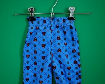 Vintage 1980s Blue Corduroy Pants with Crest Print- Size 9 Months
