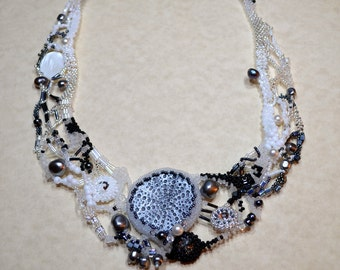 Old movie freeform peyote necklace black and white with polymer clay focal