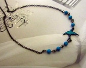 Blue fly - Patina blue tweet with turquoise stone beads