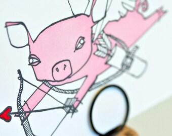 Cupid Pig Letterpress Valentine