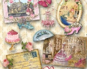 Marie In Versailles Digital French Elements Collage Sheet Instant Download for Scrapbooking, ACEO, altered art