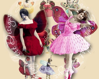 Vintage Ballerinas with wings Digital Supply Sheet Instant Download for ATC's, Aceo, scrapbooking, altered art, jewelry,hang tags, collage