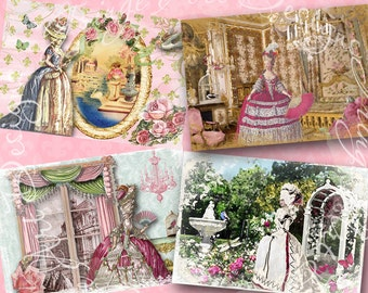 Marie Antoinette French Notecards  No.2 Gift Tags Digital Instant Download Printable Images