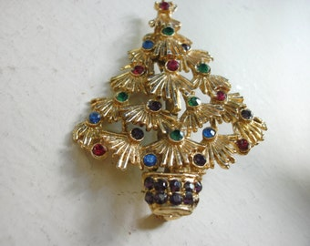 Christmas Tree  Whimsical Gold Tone  Colorful Rhinestones  FREE SHIPPING