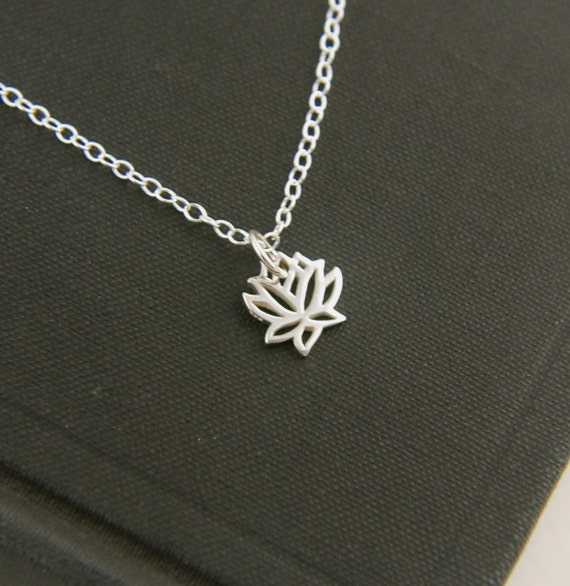 Tiny lotus flower charm necklace in sterling silver, tiny silver charm, flower necklace, sterling silver flower
