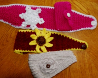 Adjustable Hand Crochet or Knit Ear Warmer with Sunflower / Snowflake / made to order (any color any style) / Spring Winter fasion headbands