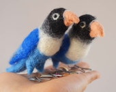 Love birds, needle felted fiber sculpture