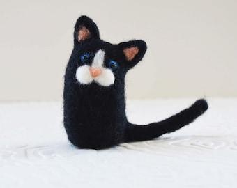 Tux Kittykitts, needle felted kitty cat fiber art sculpture