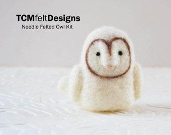 Needle Felting Kit, Owl, complete bird wool fiber kit for beginners