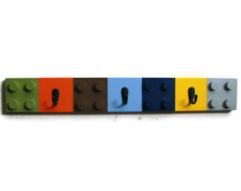 BUILDING BRICK BLOCK Coat Rack with 3 Hooks - Non-Traditional Colors or Choose Your Own Colors, Children's Decor