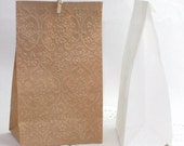 20 Damask Embossed Flat Bottom Paper Bags, 1/2 lb. Kraft or White Food Safe, Candy Bags, Cookie Bags, Wedding, Favor Bags, Party Favors