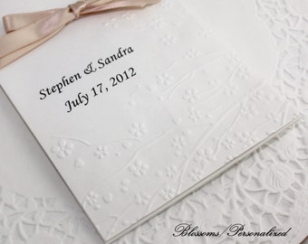 """25 Personalized Embossed Kraft Bags,/White Bags, Wedding, Anniversary, Gift Bags, Candy Bags 6.75"""" x 4""""  Choice of Design"""