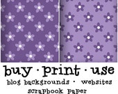 Digital Collage Scrapbook Paper Royalty Free Purple Polka Dots Plaid Cute Floral Wallpaper Pattern