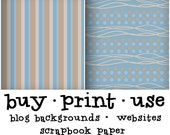 """Blue and Brown Simple Polka-Dots, Classic Stripes and Basic Lines. 5-pack of Digital Retro Wallpaper Print """"It's A Boy"""""""