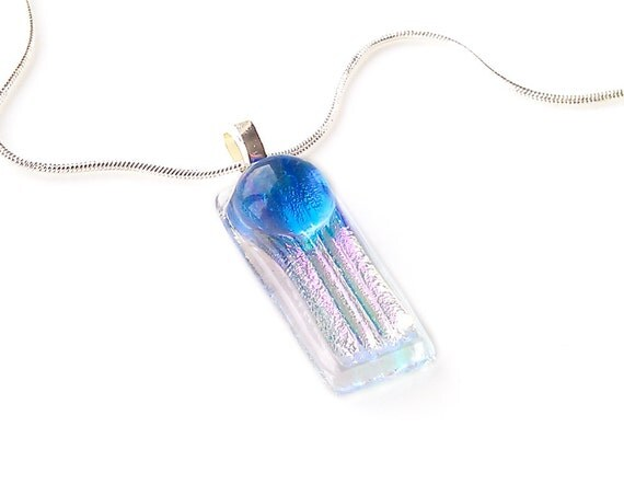 Blue Dot on Pink Dichroic Fused Glass Necklace
