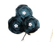 Teal Green Fabric flower  wedding headpieces 3 hairpin SALE