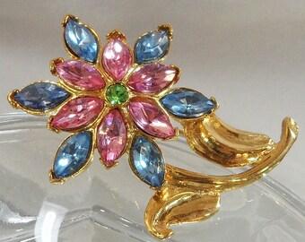 Vintage Flower Brooch. Pink Blue. Green. Rhinestones