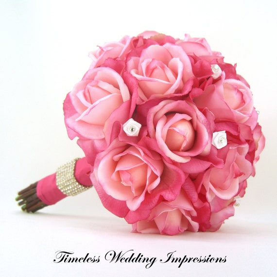 Bridal Real Flower Bouquets : Items similar to hot pink roses bridal bouquet real touch