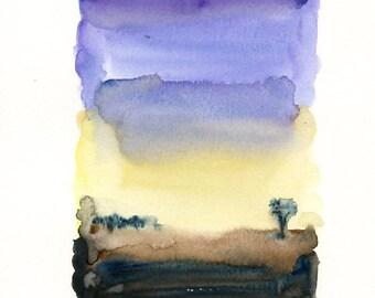 Summer Landscape-Original watercolor painting 8x10inch-Landscape-Birds watercolor-Nature art-home decor