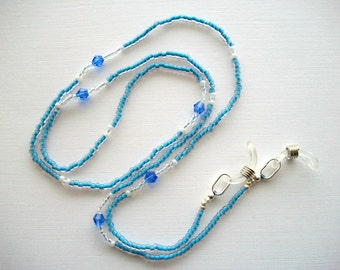 Blue Eyeglass Lanyard Beaded Holder with Sapphire Bicone Crystals