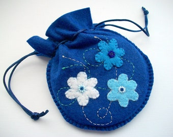 Royal Blue Jewelry Bag Felt Gift Pouch or Compact Pouch Handsewn