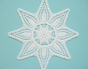 Star Doily Crochet White Cotton Lace Heirloom Quality