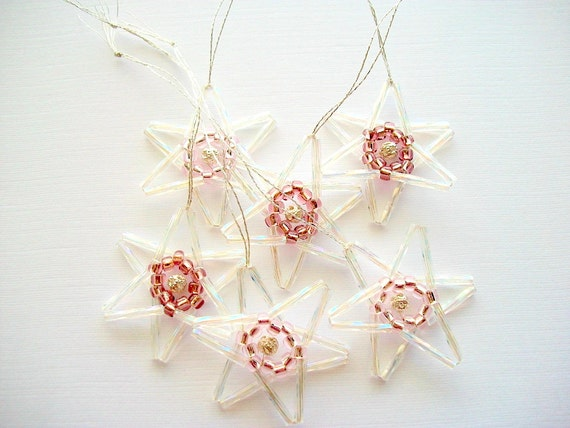 Crystal Star Ornaments with Pink and Silver Plated Filigree Beads Hand Beaded Set of 6 Pieces