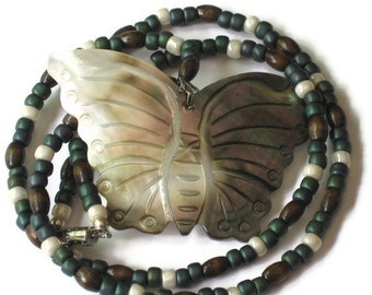 Mother of Pearl Butterfly Necklace, One of a Kind, Gifts for Women Mom Wife Sister Daughter Grandma Teacher Under 30, Stocking Stuffers