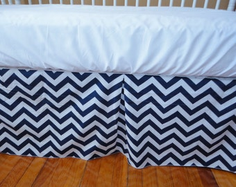 Ships Fast- SALE- Navy and White Chevron Pleated Crib Skirt