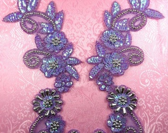 "0183 Appliques Lavender AB Silver Mirror Pair Sequin Beaded 10""  (0183X-lvabsl)"