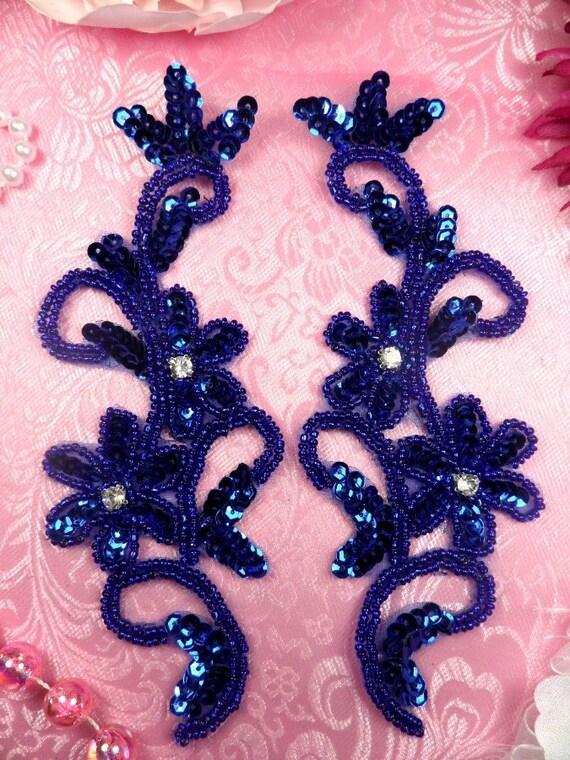 0396 royal blue sequin beaded appliques mirror pair 7