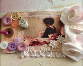 Gift Art Tag, Bookmark - Shabby Mixed Keepsake Media Collage - Follow Your Heart