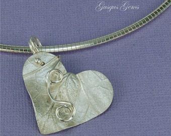Heart And Leaf Fine Silver Pendant Art Clay Silver Pendant