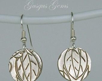 Leaf Fine Silver Earrings Art Silver Clay Leaf Earrings