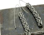 Titanium Candy Cane Cord Spiral Chain Earrings