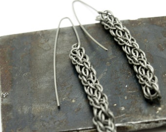 Titanium Candy Cane Cord Spiral Chain Earrings