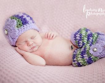 Newborn Girls Hat And Leg Warmer Set  - Hand Crocheted - Photographer's Prop - Ready To Ship