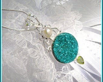 CLEARANCE-Emerald Druzy - Pearl - Peridot- Necklace  DD 8785