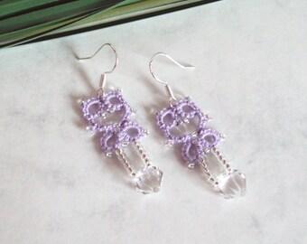 Lilac Lace Dangle Earrings - Beaded Lace - Tatting Jewellery - Lillian