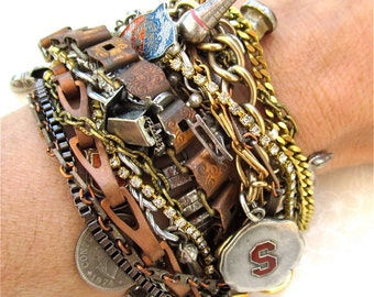 Made to Order Chunky Charm Bracelet in Your Color Choice with Your Own Charms Something Old - Copper, Silver, Gunmetal, Gold, or Mixed Metal