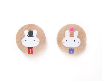 Bunny Rabbit as London Guard Outfit and in Party Clothes Wooden Magnets