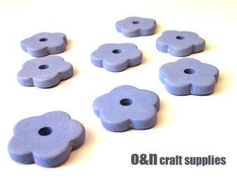 Flower greek ceramic beads, blue beads - set of 8