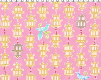 Chinoise CW Fabric Asian Inspired Yellow Bird Cages with Blue Birds on Pink