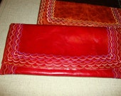Deep Red Embroidered Leather Clutch
