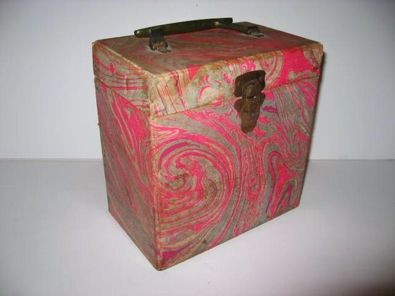 Vintage 1960s Record Case 45s Carrier Box Pink Amp Grey Marble